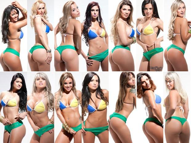 Candidatas ao título de Miss Bumbum 2012 posam para fotos (Foto: Divulgação)